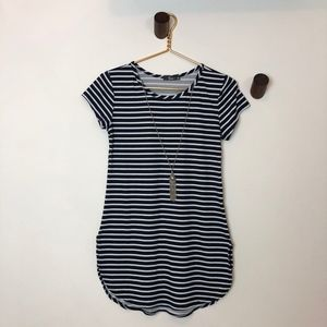 Tops - Navy & White Stripe Tunic Top w/ Attached Necklace